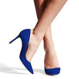 FSJ Sexy Suede Pointed Toe Pumps Heels Stilettos